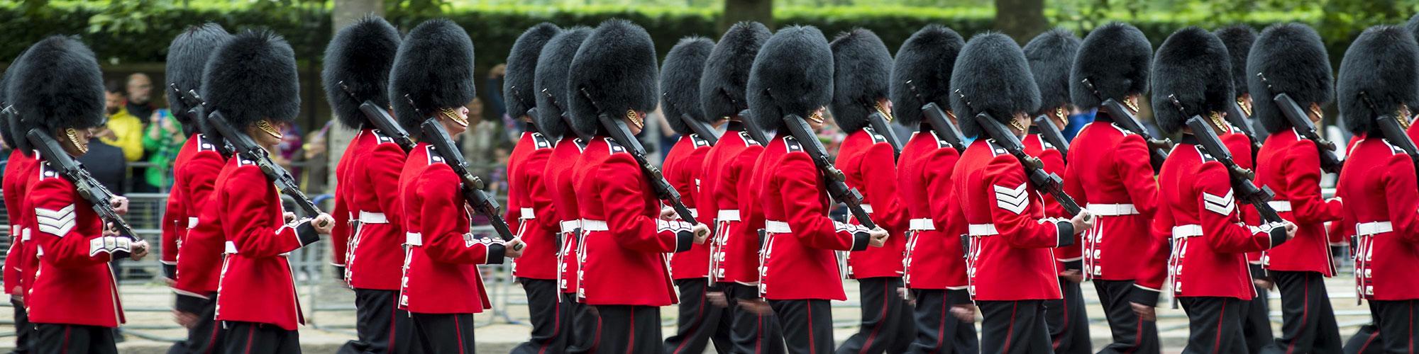 English Queens British Guards Uniform Marching London