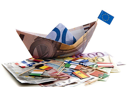 European Money Boat with Flags