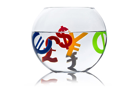 Glass Bowl with Plastic Financial Letters in Water