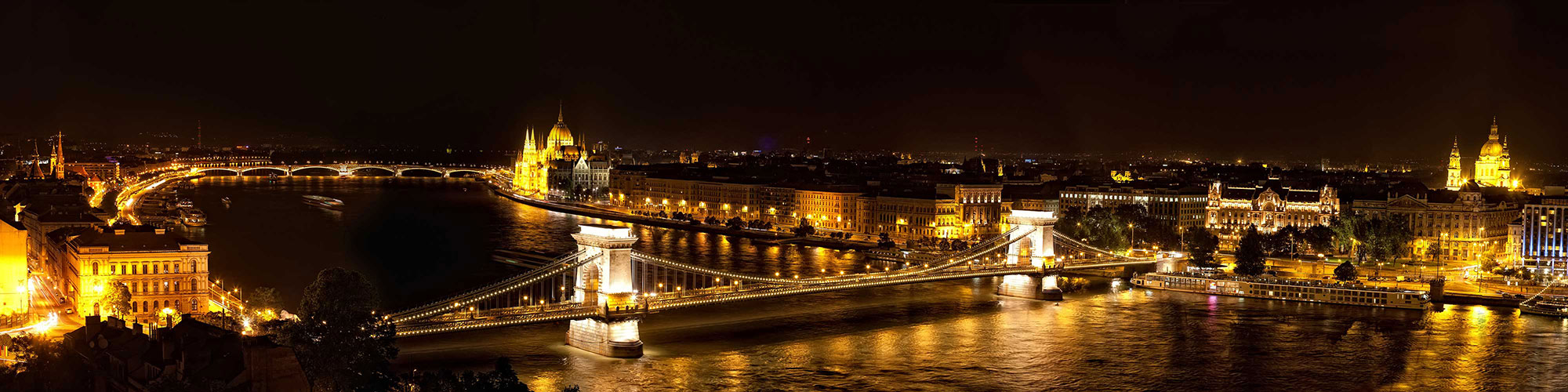 Budapest Hungary River at Night