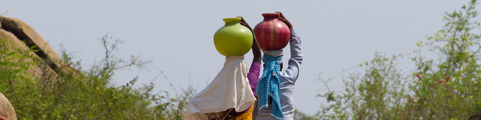 Kannada Ladies Carrying Green Red Pots Head