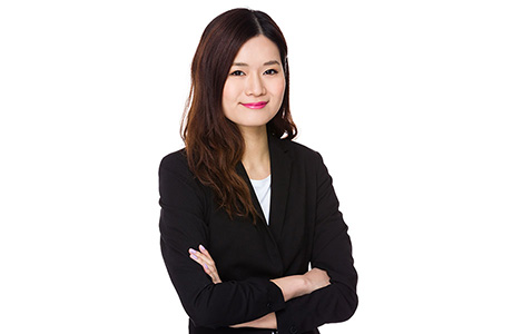 Korean Translation Services Professional in Dark Suit on White Background