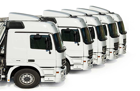 Logistics Translation Icon of White Lorries Parked Next to Each Other