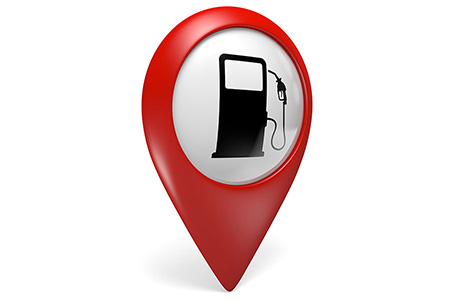Oil & Gas Translation Location Tag Red with Petrol Pump