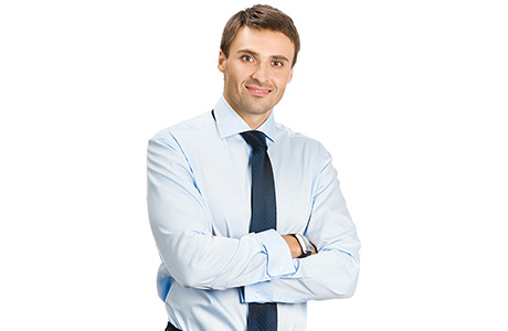 Polish Translation Services Professional Arms Folded in a Light Blue Shirt