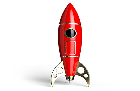 Quick Translation Icon of a Red Rocket Symbolising Speed