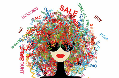 Retail Translation Icon with Retail Sector Words in Hair of Character