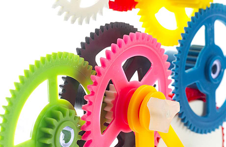 Plastic Sector Translation Service Icon Coloured Plastic Gears