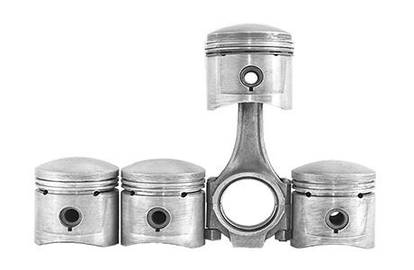 Technical Automotive Engine Pitsons White Background