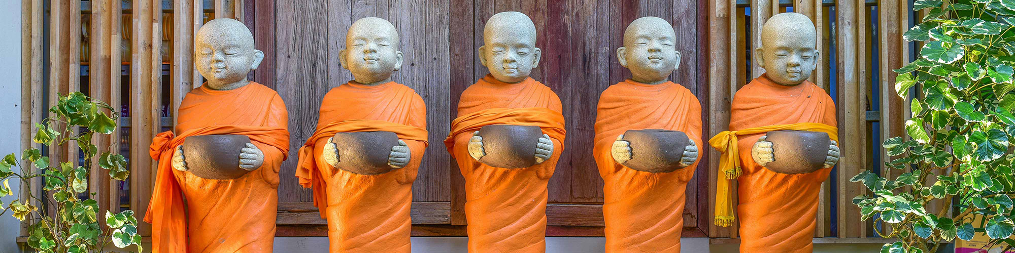 Cambodian Monks Figureens Holding a Bowl
