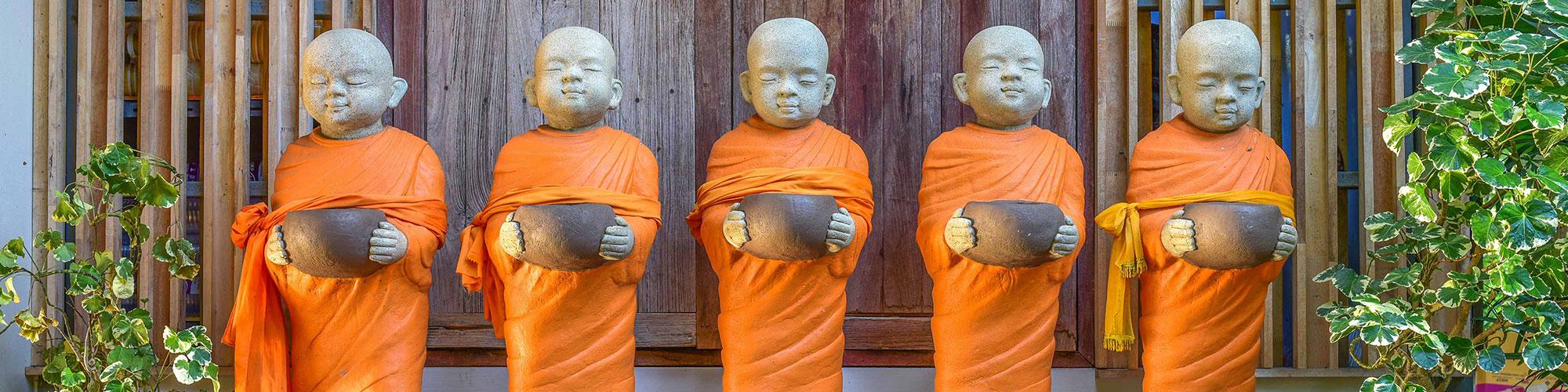 Khmer Monk Wooden Figures Holding Bowls