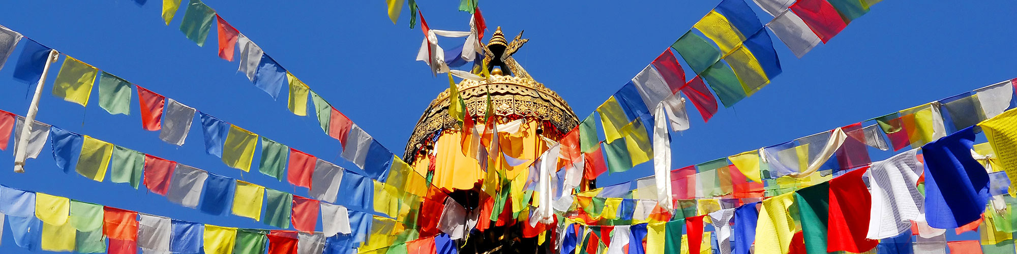 Nepalese Temple with Colored Flags