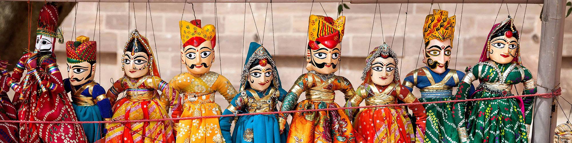 Indian Oriya Puppets Orange and Blue