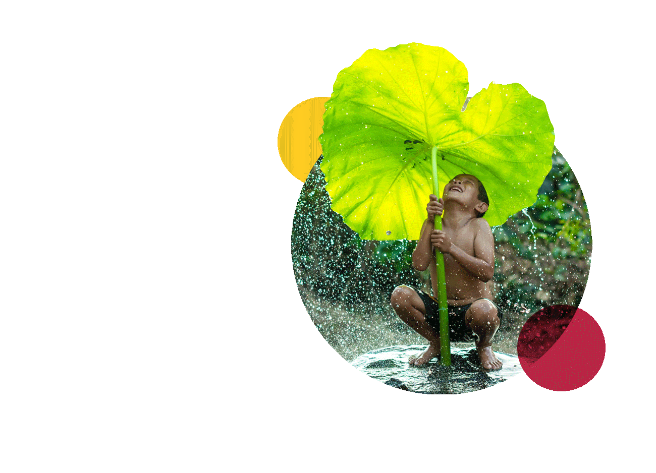 environment translation company showing children in the rain with a big green leaf