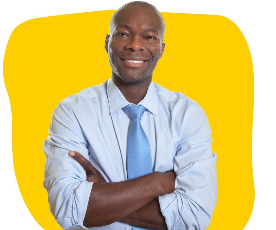 Afrikaans Professional Translator in a Blue Shirt