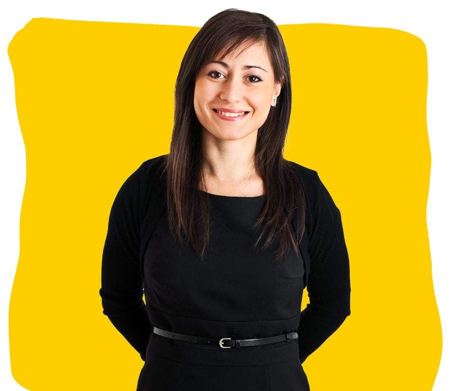 Asian & English Professional Translator UK wearing a black dress smiling