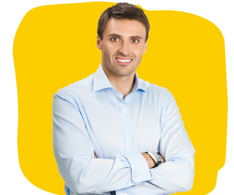 Belarusian Professional Translator Portrait Smiling wearing a light blue shirt with folded arms