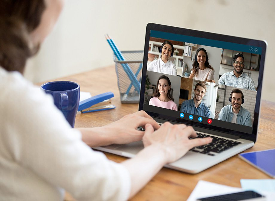 Video interpreting services symbolized by a live video conference session on a laptop