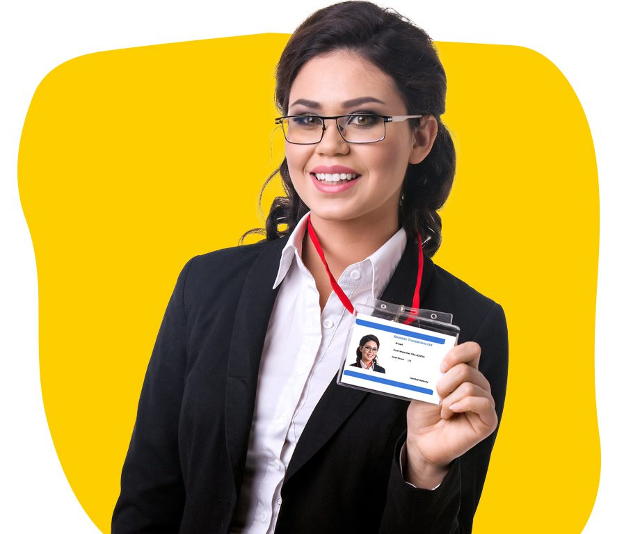 Court approved interpreter holding an ID card wearing glasses